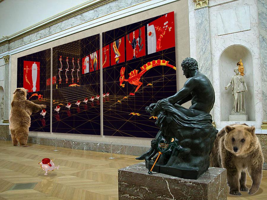 Mars assis, Artemis debout, Thor couché. Galerie fra Piero della Tralala 3